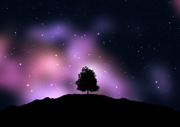 Drzewo sylwetki na gwiaździstym kosmicznym niebie