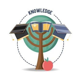 Drzewo z książki i graduacyjnej kapelusz i owoce jabłka