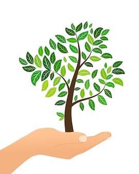 Drzewo z zielonymi liśćmi w ręku isolaed na białym tle. koncepcja eco. ilustracja.