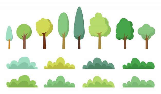 Drzewo zestaw ilustracji na białym tle