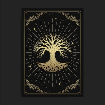 Drzewo życia. magiczne okultystyczne karty tarota, duchowy czytnik tarota ezoterycznego boho, astrologia magicznych kart, rysowanie duchowe lub medytacja.