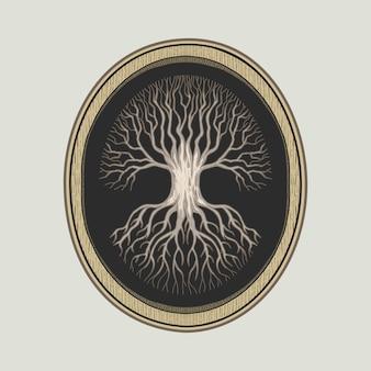 Drzewo życia w drewnianej ramie szczegółowe handdrawn vintage wektorowej