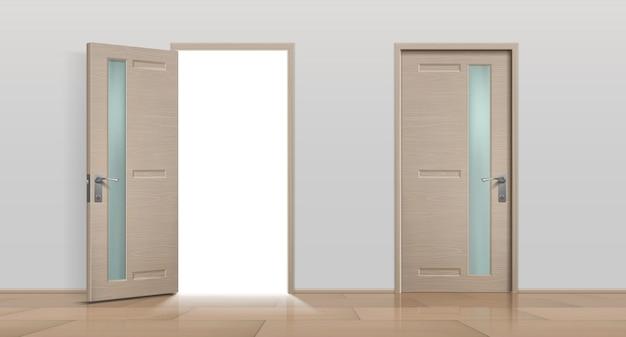 Drzwi otwarte i zamknięte. realistyczne 3d białe i brązowe drzwi wejściowe do domu i biura. obraz wektorowy różne drzwi przednie mieszkania zestaw na białym tle na białym tle