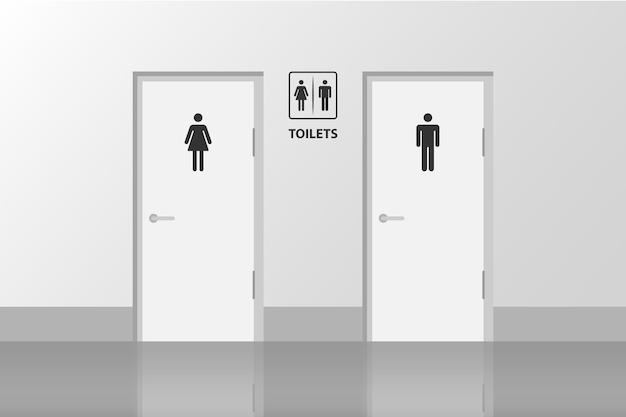 Drzwi toaletowe dla kobiet i mężczyzn wc łazienka ze ścianą