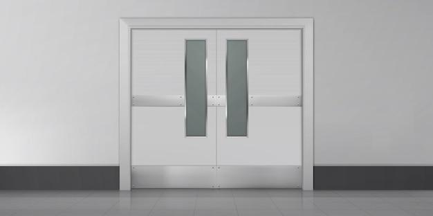 Drzwi w laboratoryjnej kuchni szpitalnej lub szkolnej korytarzu puste wnętrze