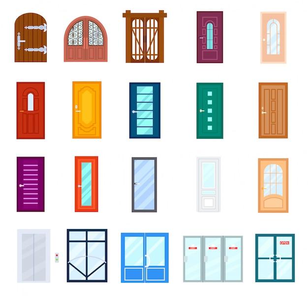 Drzwi wejściowe na białym tle zestaw w płaskiej konstrukcji