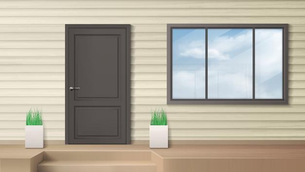 Drzwi wejściowe, wejście do domu, nowoczesna fasada domu