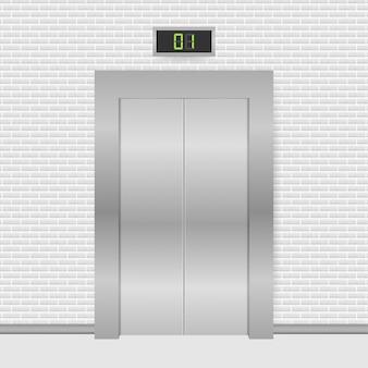 Drzwi windy. winda zamykająca i otwierająca metaliczna w budynku biurowym. ilustracja.