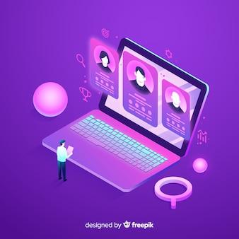 Duża ilustracja laptop izometryczny zatrudniania