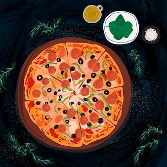 Duża włoska pizza ilustracja