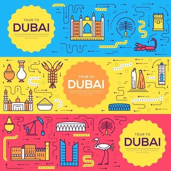Dubai karty cienka linia zestaw ilustracji