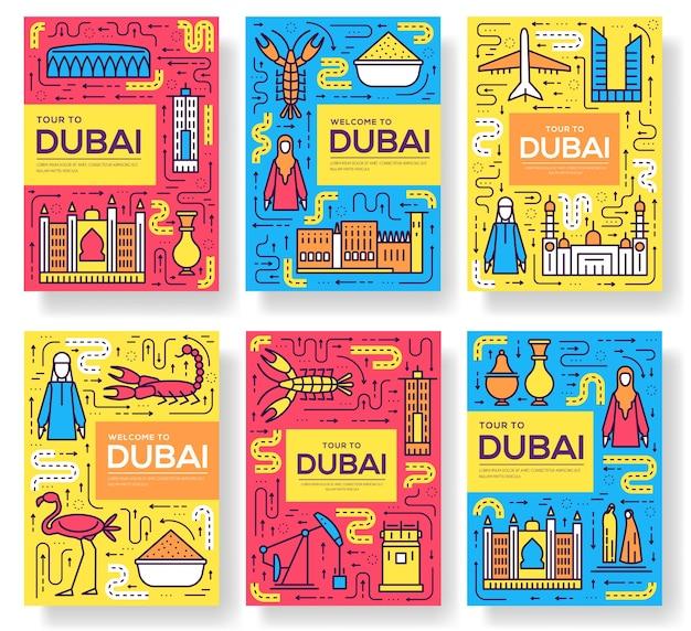 Dubai Karty Cienka Linia Zestaw Ilustracji Premium Wektorów