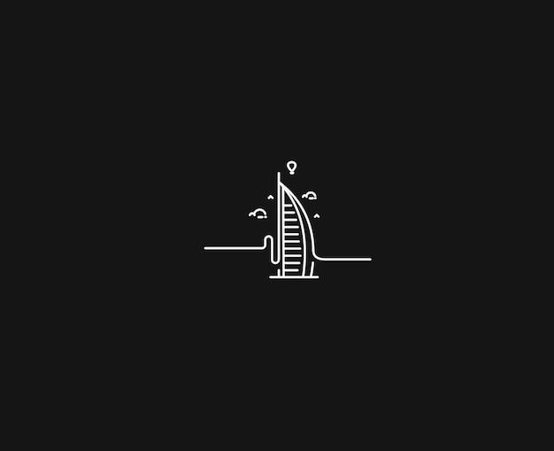 Dubaj burj al arab flat line art ikona ilustracja wektorowa.