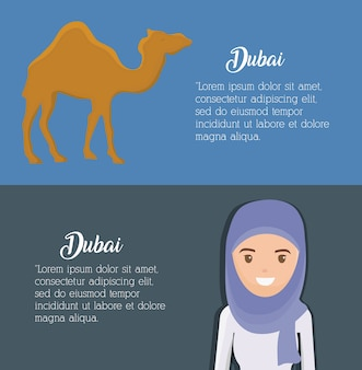 Dubaj infographic podróży