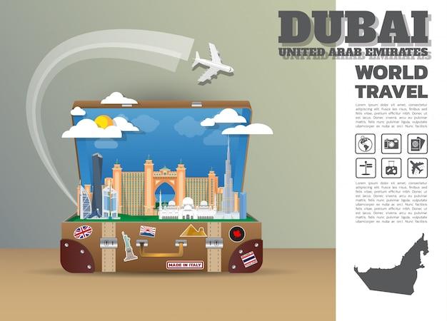 Dubaj landmark global travel and journey bagaż infographic.