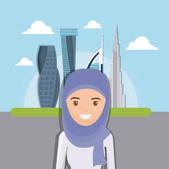 Dubaj miasta budynku pejzażu miejskiego nowożytna linia horyzontu z arabskimi ludźmi