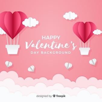 Dubbed balonów na ogrzane powietrze Walentynki tło