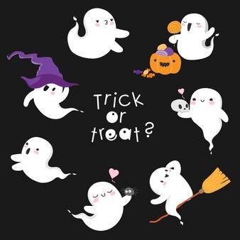 Duch halloween leci podstępem lub psikusem słodkie duchy kawaii ułożyły sabat czarownic