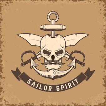 Duch marynarza. czaszka z kotwicą i nożami na tle grunge. ilustracja.