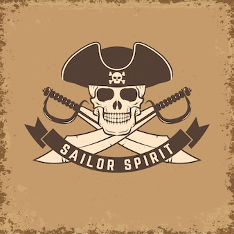 Duch marynarza. czaszka z kotwicą na tło grunge. ilustracja.