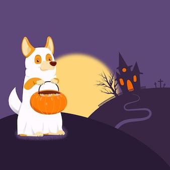 Duch pies ilustracja na halloween