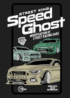 Duch prędkości, ilustracja super szybkiego samochodu