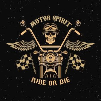 Duch silnika. jedź lub zgiń. motocykl ze skrzydłami. czaszka kierowca. element plakatu, godło, znak, znaczek. ilustracja