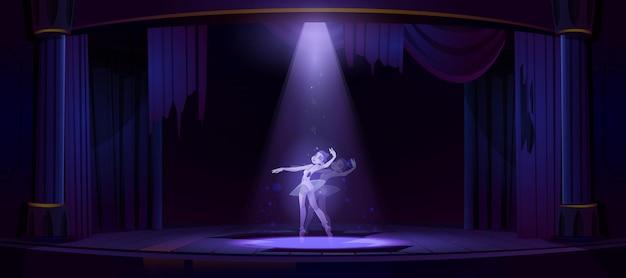 Duch tańca baleriny na starej scenie teatralnej w nocy. ilustracja kreskówka ducha zmarłej kobiety w opuszczonym ciemnym teatrze operowym z reflektorem