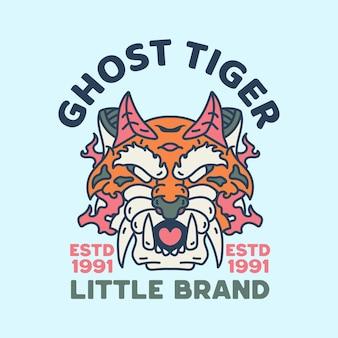 Duch tygrys ilustracja postaci vintage design retro