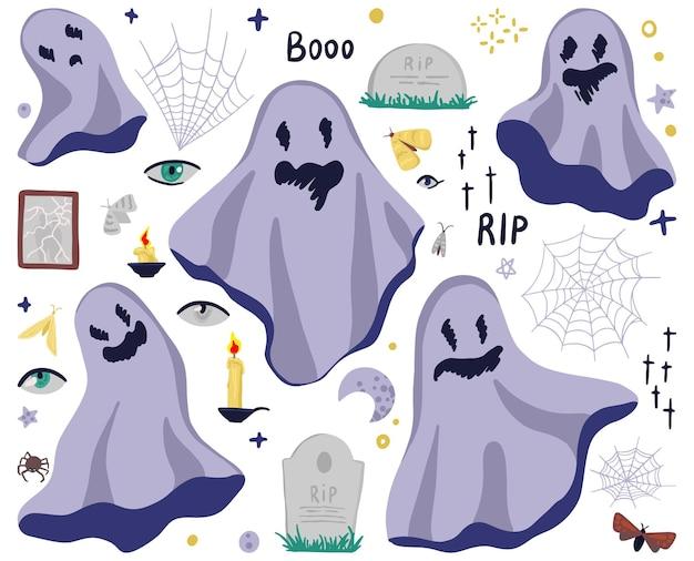 Duchy, nagrobki, świece, owady, pajęczyny, straszne przedmioty. ręcznie rysowane kreskówka wektor zestaw ilustracji. kolorowe płaskie cliparty na białym tle. elementy do projektowania na halloween.