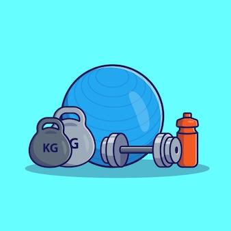 Dumbell i fitness ikona piłka ilustracja. gym i sprawności fizycznej ikony pojęcie odizolowywający. płaski styl kreskówek