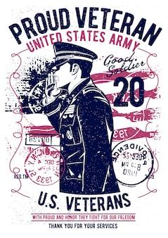 Dumny weteran, plakat vintage ilustracji.