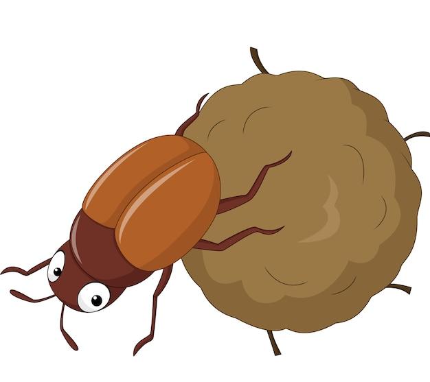 Dung beetle z dużą piłkę kupy kreskówka