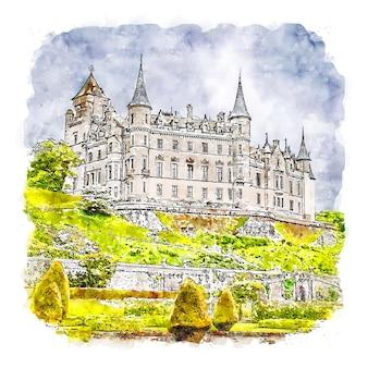 Dunrobin castle francja akwarela szkic ręcznie rysowane ilustracji