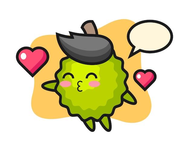 Durian kreskówka z gestem całowania