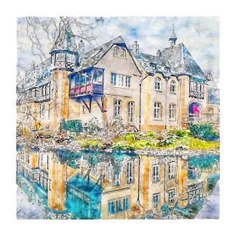 Dusseldorf, niemcy szkic akwarela ręcznie rysowane ilustracji