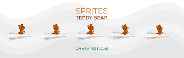 Duszki pluszowego misia na papierowym samolocie brązowy miś latający miś