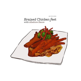 Duszone udka z kurczaka z sosem abalone, chińskie jedzenie. ręcznie rysowane szkic