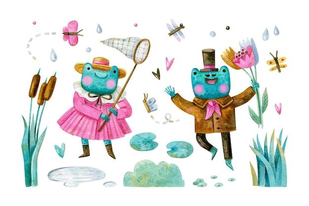 Duża akwarela kreskówka zestaw z uroczymi żabami w ubraniach, motylach, ważkach i roślinach rzecznych
