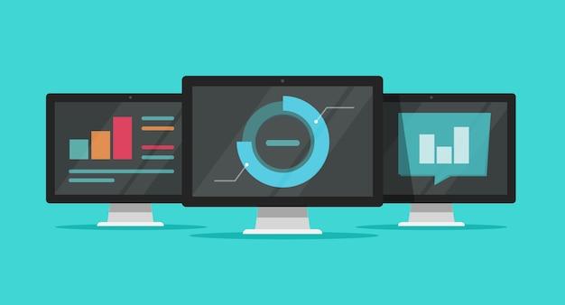 Duża analiza danych lub badanie technologii w chmurze na komputerach