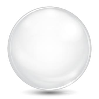 Duża biała nieprzezroczysta kula z odblaskami i cieniem