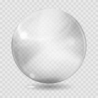 Duża biała przezroczysta szklana kula z odblaskami i cieniem. przezroczystość tylko w pliku wektorowym