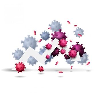 Duża biała strzałka wykresu ekonomicznego otoczona wyizolowanymi cząsteczkami koronawirusa