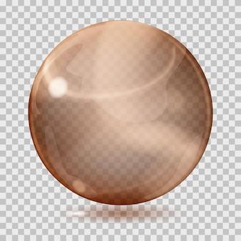 Duża brązowa przezroczysta szklana kula z odblaskami i cieniem. przezroczystość tylko w pliku wektorowym