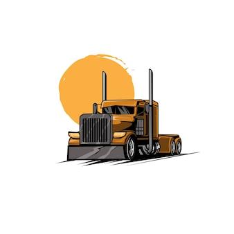 Duża ciężarówka i słońce