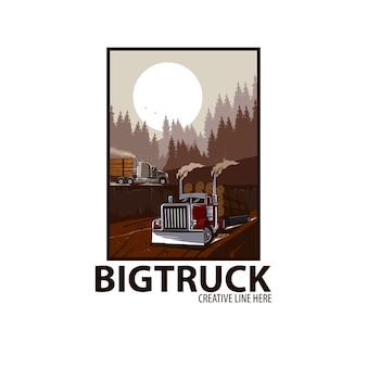 Duża ciężarówka ładuje las