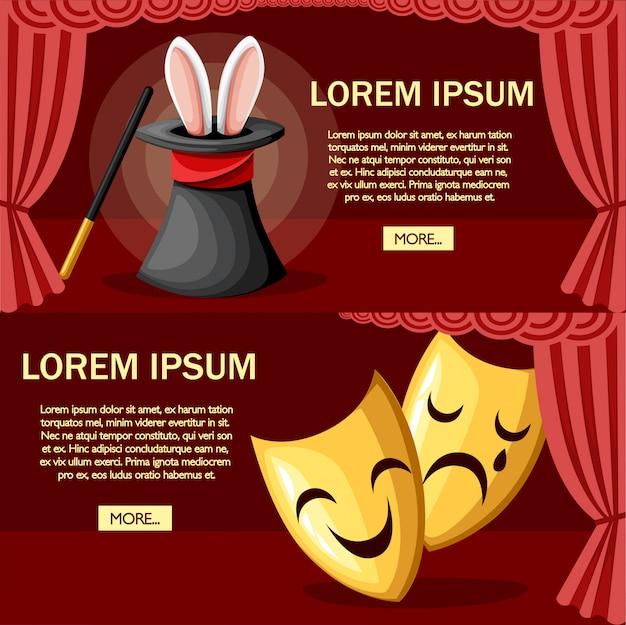 Duża czarna magiczna czapka z uszami królika. czerwone zasłony na scenie. magiczna różdżka. ilustracja na czerwonym tle