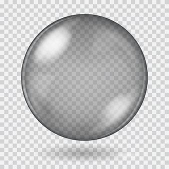 Duża czarna przezroczysta szklana kula z odblaskami i cieniem. przezroczystość tylko w pliku wektorowym