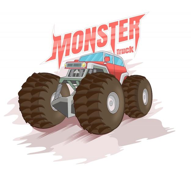 Duża czerwona ciężarówka z potworami
