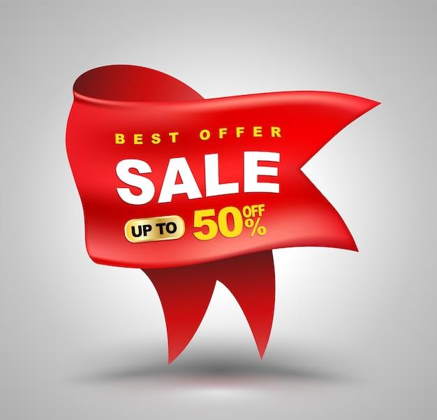 Duża czerwona wstążka na sprzedaż banner do reklamy promocyjnej.